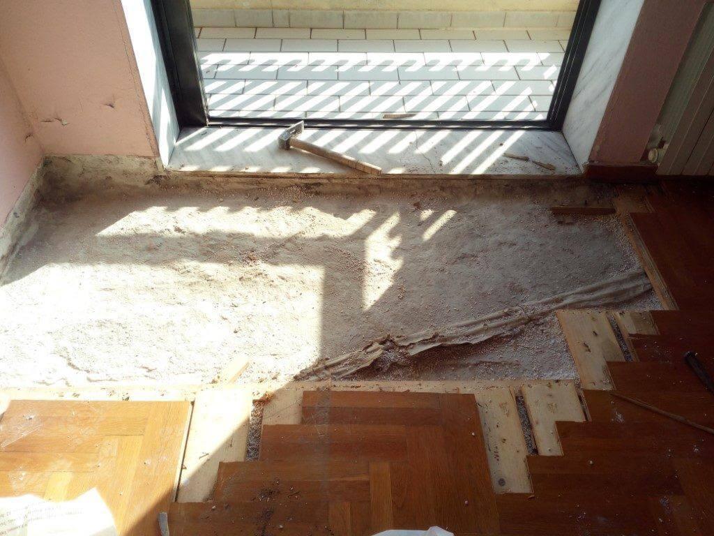 Επιδιόρθωση ζημιάς σε πάτωμα λόγω εξωτερικής υγρασίας 1
